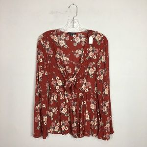 American Eagle red floral printed bell sleeve top